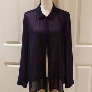 Halogen flowy navy blouse